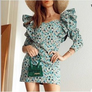 ZARA Floral Printed Dress With Ruffles